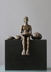 Carol Peace, Urchins, Bronze resin on wooden block, 28cms high x 22w x 12d, ed of 25