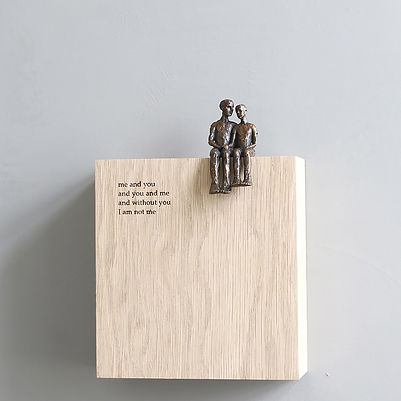 Carol Peace, 'Me and You', Bronze on oak wall block Edition of 25, 15 x 14 x 5cm