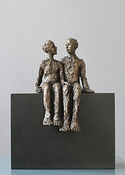 Carol Peace, No Secrets, Bronze resin on wooden block, 28cms high x 22w x 12d, ed of 25