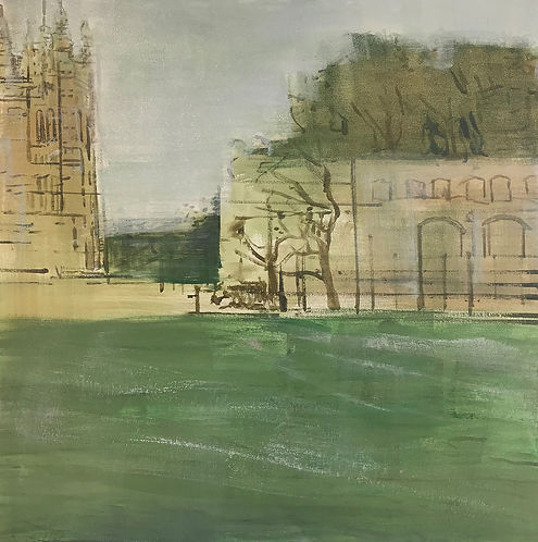 Oona Hassim, Parliament Square - lockdown, oil on canvas, 61 x 61cm, woolff gallery