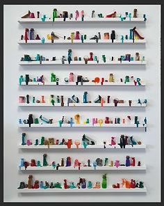 LoveJordan, Badly Behaved Bottles. 80 x 100cm, Paint in vials on small shelves
