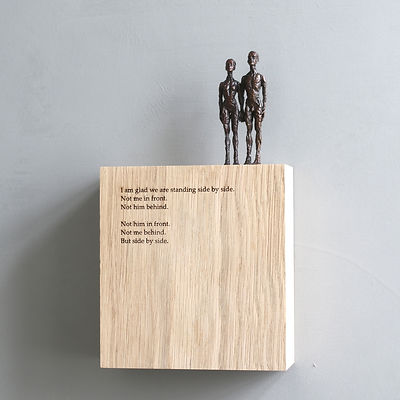 Carol Peace, 'Side by side',  Bronze on oak wall block Edition of 25, 15 x 14 x 5cmrolPeace_PoetryBlock_SideBySide_1_1Scm