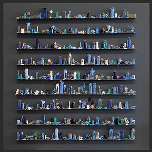 LoveJordan, 'OCEAN SNEEZE', 100 x 100 x 8cm, Blue paint on small shelves In black box frame