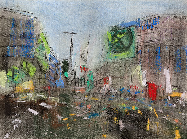 Oona Hassim, Extinction Rebellion 2020, Pastels on paper, 37.5 x 31cm, Woolff gallery