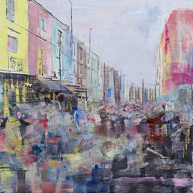 Notting Hill pre Covid, oil on canvas, 61 x 61cm, woolff gallery