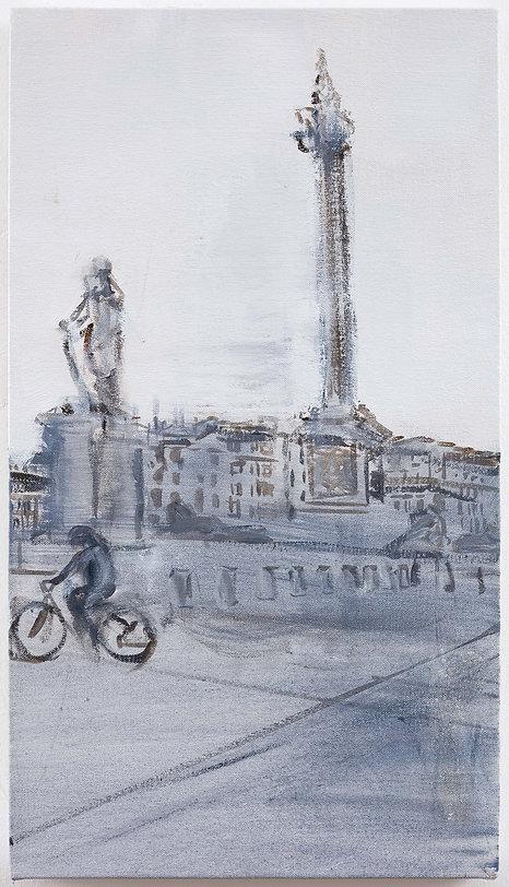 Oona Hassim, Trafalgar sqaure, acrylic on canvas, 28 x 50cm, Woolff Gallery