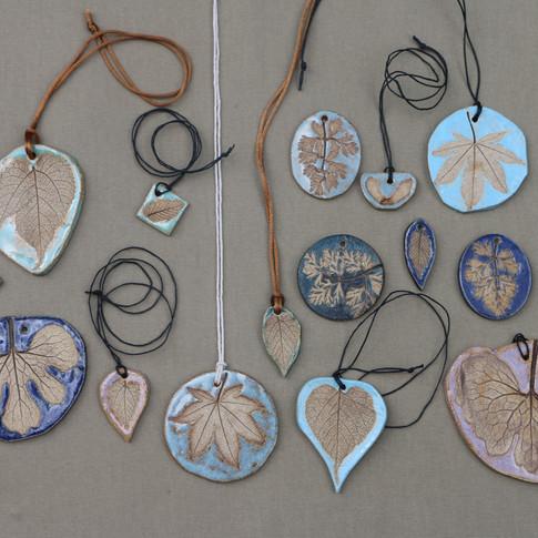 Leaf imprint pendants