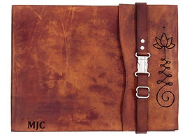 Lotus flower, large leather sketchbook, custom sketchbook, custom journal, leather journal, sketchbook journal, refillable sketchbook, refillable leathe  sketchbook