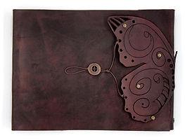 zenfishleather refillable sketchbook, leather buttefly sketchbook, refillable sketchbook,  sketchbook journal, leathe journal, large leather sketchbook