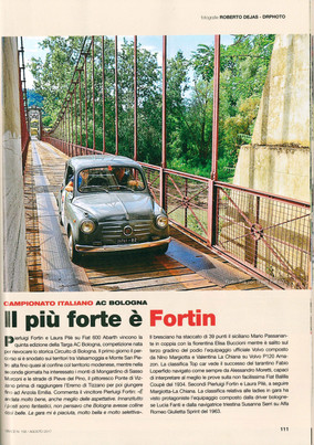 """""""Il più forte è Fortin"""" - l'articolo sulla Targa AC Bologna pubblicato su Grace di ago"""