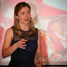 Vicky Ellis On stage (after-dinner talk)