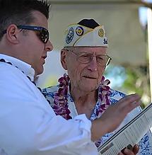 Joel Biggs with Pearl Harbor Survior and friend of Pearl Harbor Memorial Parade, Tom Berg