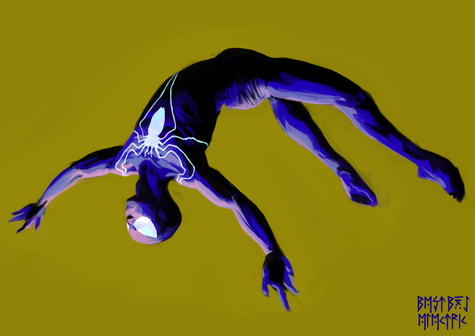 spidey falling yellow