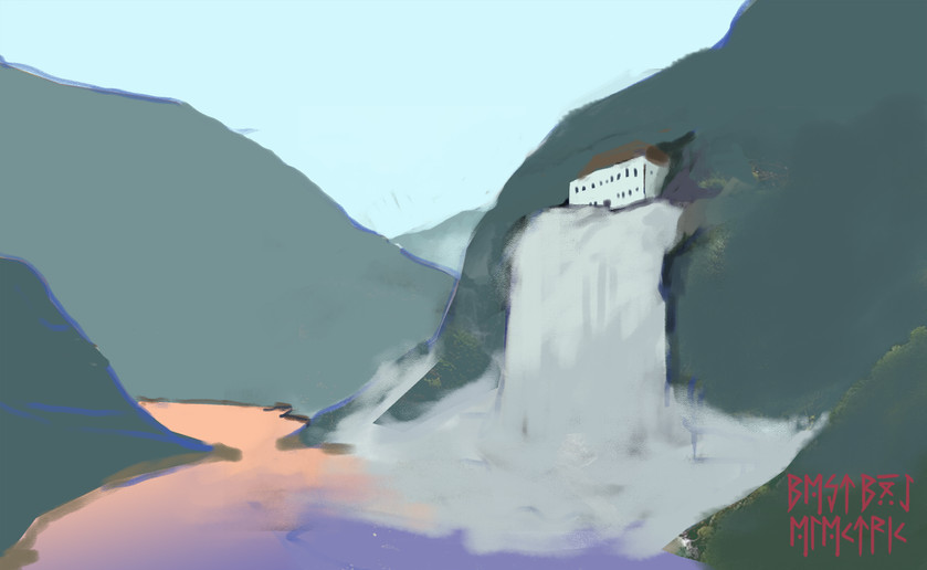waterfall house sketch