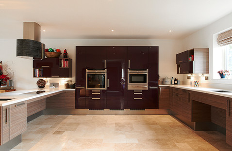 Large, open plan wheelchair accessible kitchen designed by Adam Thomas