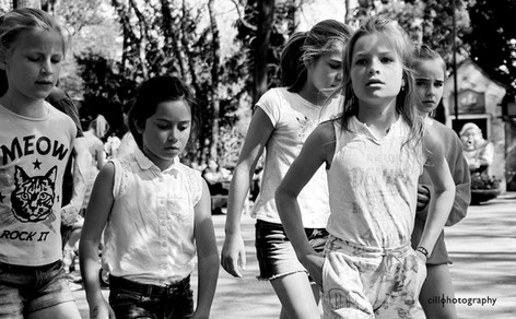 Project Normalness by documentary photographer Cilla Rijnbeek:  a gang of little posh girls at the Efteling in Kaatsheuvel.