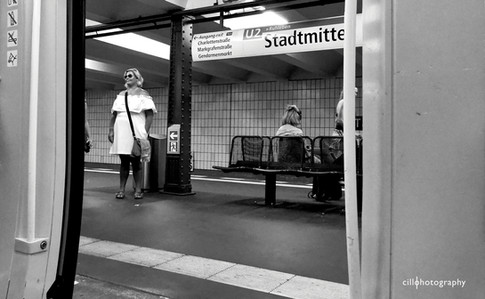 Project Normalness by documentary photographer Cilla Rijnbeek:  a  woman who resembles Marilyn Monroe at the Bahnhof of Stadmitte Berlin.