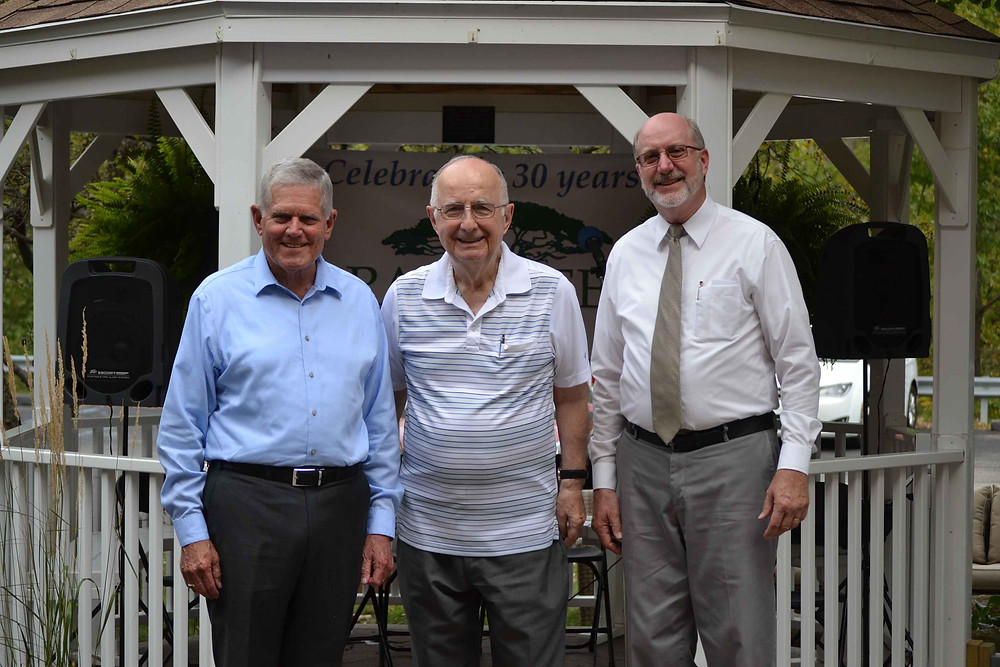 Steve Wray (far right) is pictured here with David Brock (far left) and Keith Kendall (center). Wray is retiring from serving as the administrator at Raintree Square.