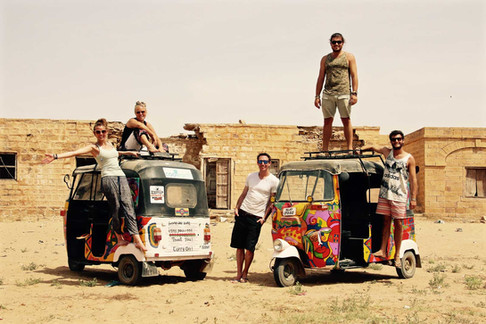 "We drove these ""Tuk Tuks"" 2700km across northern India to raise funds for Rhinos and Rainforests"