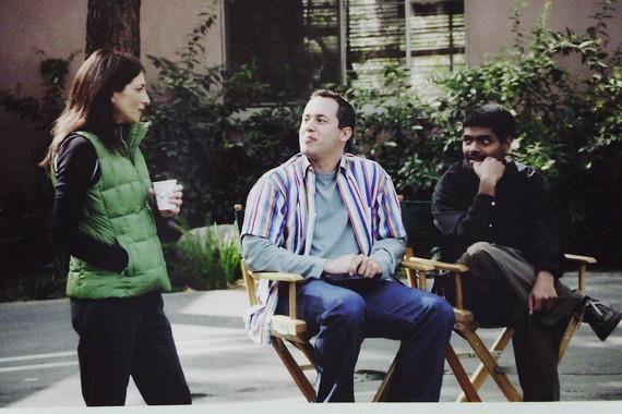 Laura Silverman, Dan Steadman, Rajeev Sigamoney on the set of The Room.JPG