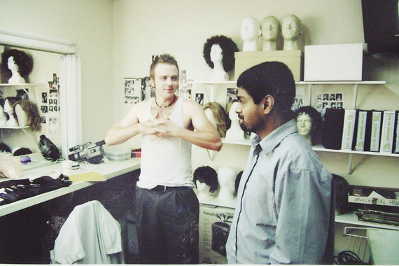 Gareth Reynolds in makeup room with EP Rajeevi Sigmaoney on set of The Room