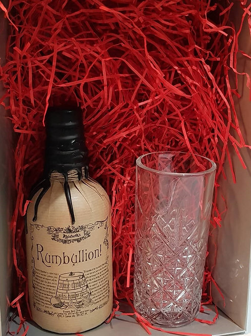Ableforth Rumbullion Spiced Rum & Vintage Long Cut Glass Gift Set..