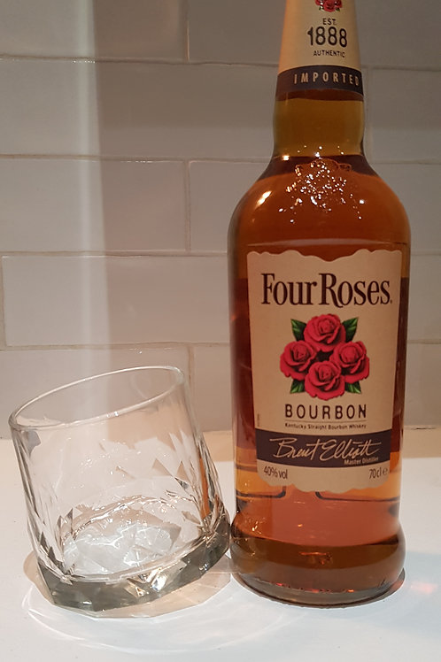 Four Rose's Bourbon & Cut Glass Rocks Glass.