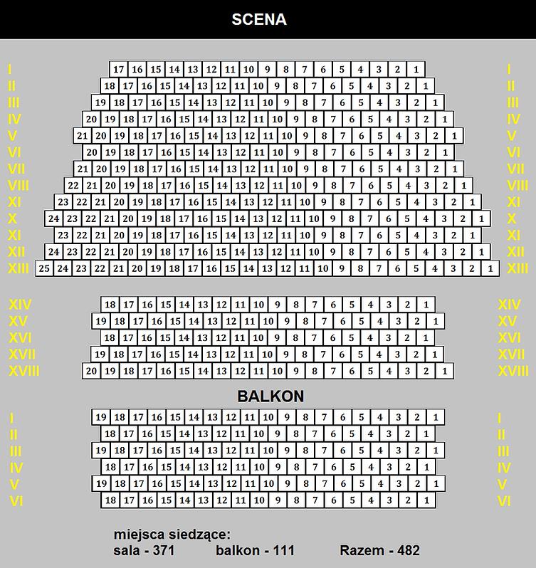 Plan miejsc siedzących na sali koncertowej