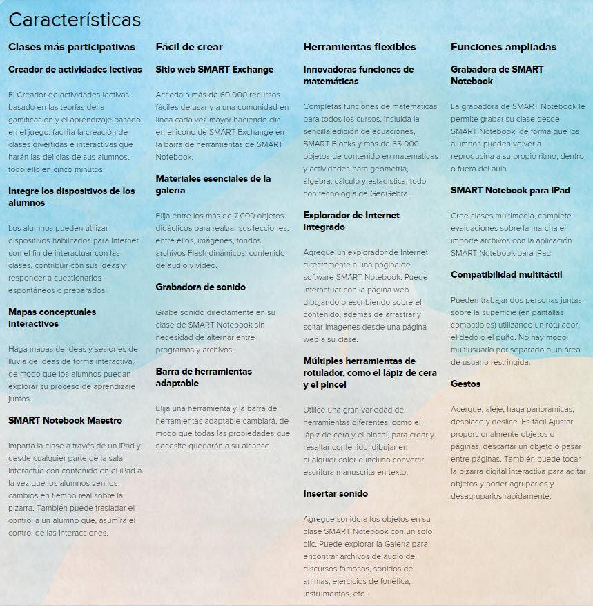 Smart Notebook caracteristicas