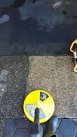 Cleaning inlay concrete surface