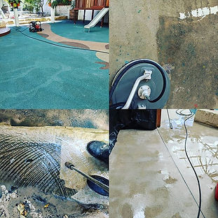 Pressure cleaning on concrete and sandst
