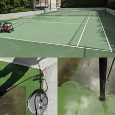 Pressure Cleaning on Tennis Court