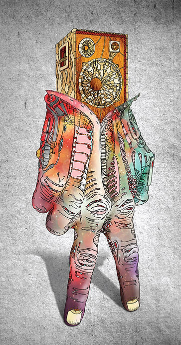 Personnage main, illustration papier, mise en couleur photoshop, format 50x150 cm