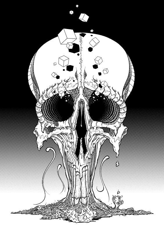 Affiche A0, noir-blanc pour l'exposition META de l'association PBK9. Skull sur fond de trame