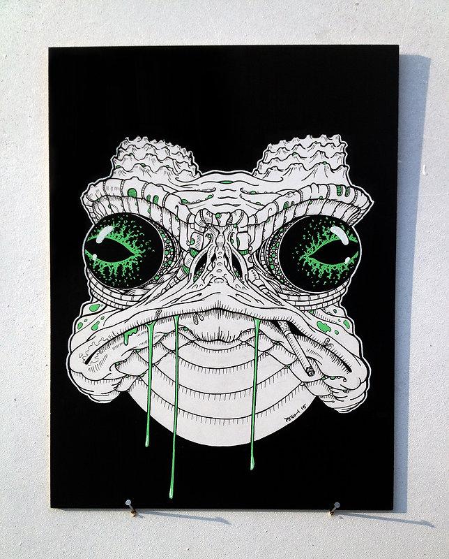 Crapeau, illustration noir-blanc A3, Posca