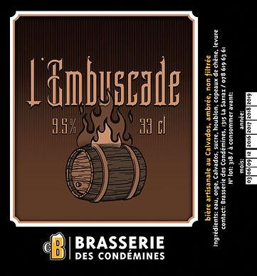 etiquette de bière, L'Embuscade, Brasserie des Condémines
