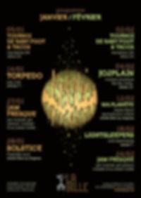 Affiche et flyer pour laprogramation de La Bille espace culturel, dessin au feutre, mise en couleur photoshop