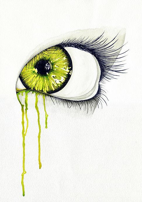 Oeil vert, illustration encre de chine et ecoline verte