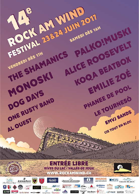 Affiche et flyer pour le Rock am Wind festival 2016, dessin crayon, mise en couleur photoshop