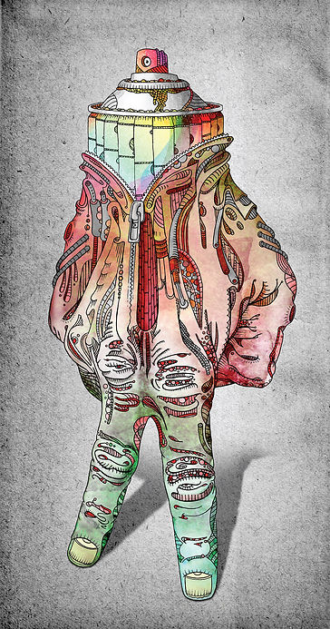 Personnage main 2, illustration papier, mise en couleur photoshop, format 50x150 cm