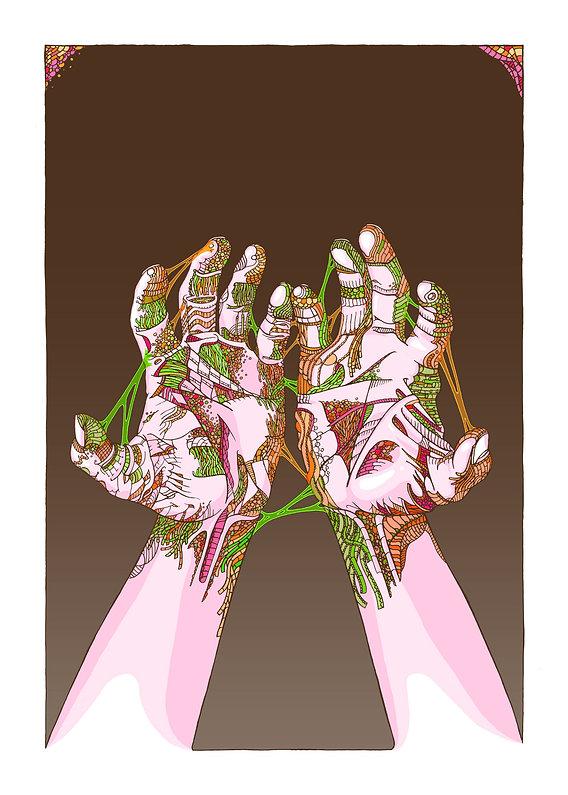 10 ans des mains sales, affiche sérigraphie 4 couleurs 50/70 cm, illustration à la main, mise en couleur photoshop