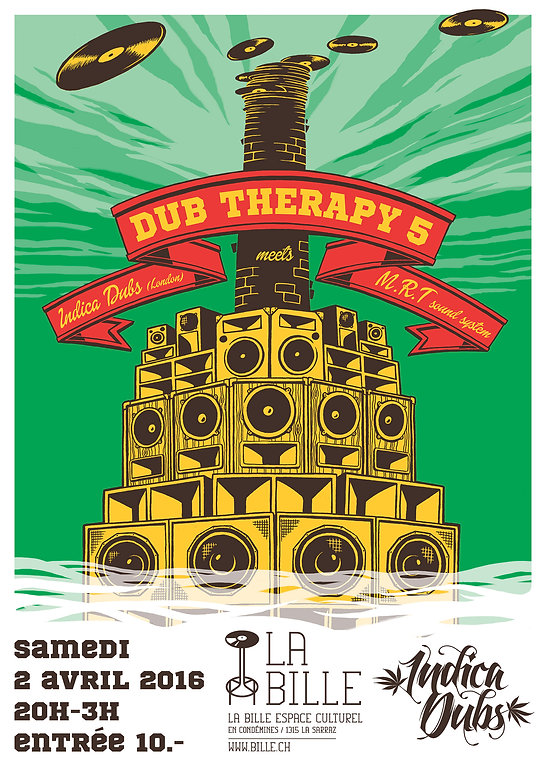 Dub Therapy, affiche A2, flyer A5, illustration à la main, mise en couleur photoshop