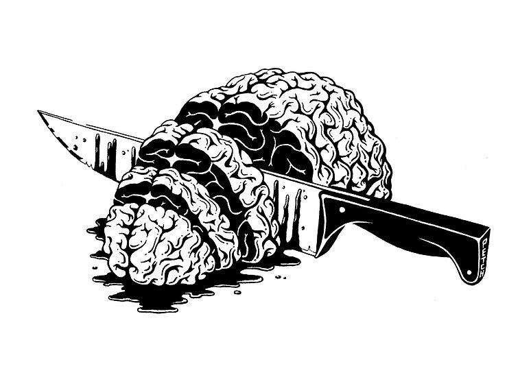 Brain, illustration noir-blanc pour le fanzine Torchon