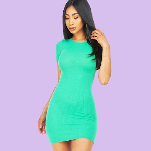 Instant Bae Ribbed Kelly Green Mini Dress
