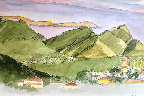 Stoupa Mountains at Dusk