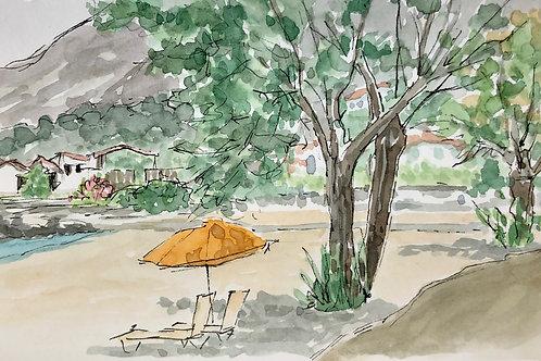 Kalogria Beach- Orange Umbrella