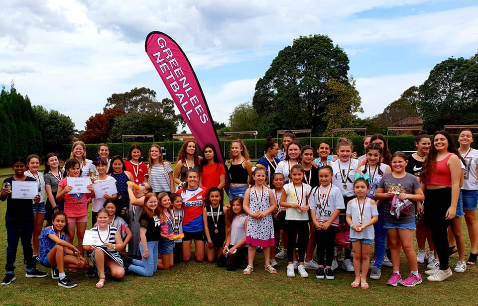 Maddy Proud and the Junior Netballers at Greenlees Netball Club