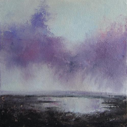 "Purple rain. Oil painting on canvas board 10"" x 10"""