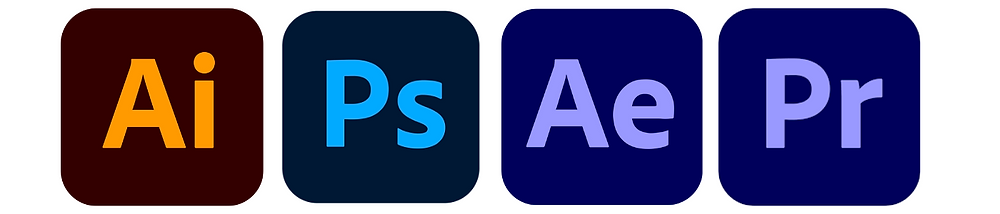 Adobe Illustrator, Adobe Photoshop, Adobe After Effects, Adobe Premiere Pro (not shown, Adobe Media Encoder)