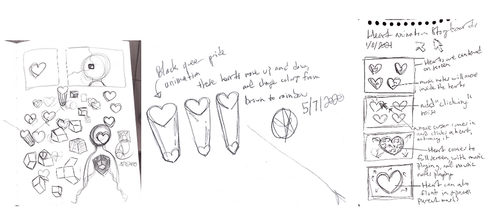 Black and White Sketch Concepts for Hearts